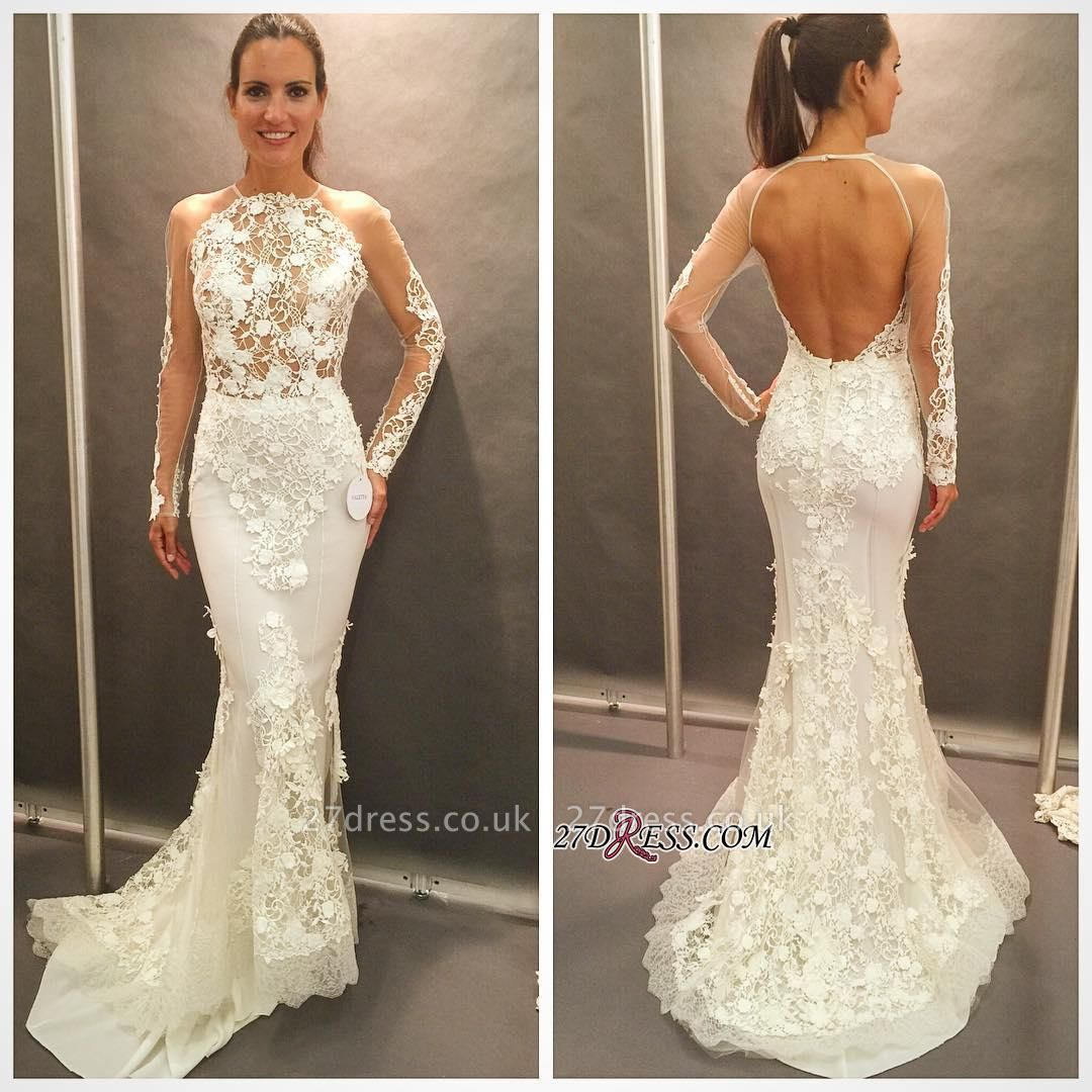 Elegant Open-Back Appliques Lace Sexy Mermaid Long-Sleeve Wedding Dress