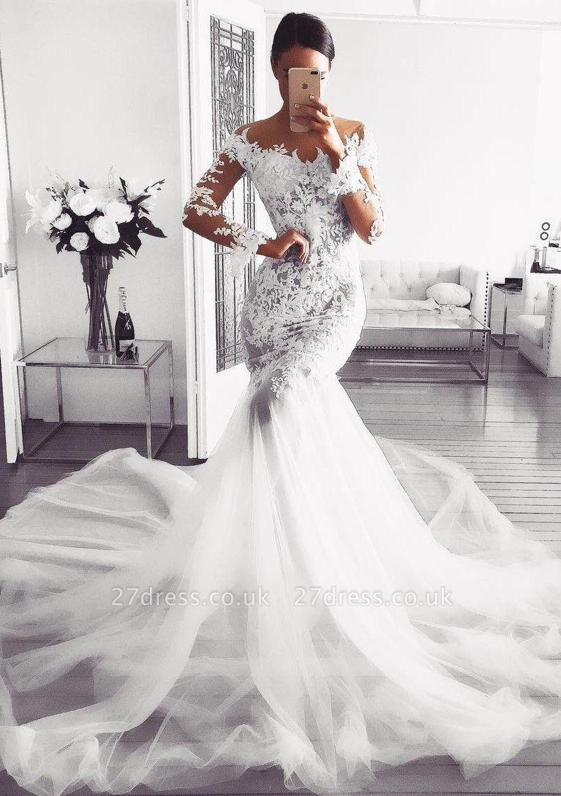 Elegant Long Sleeve Wedding Dress | 2019 Lace Sexy Mermaid Bridal Gowns