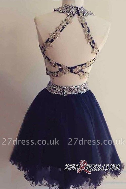 Navy Two-Pieces Beaded Sexy Short Blue Homecoming Dress UKes UK