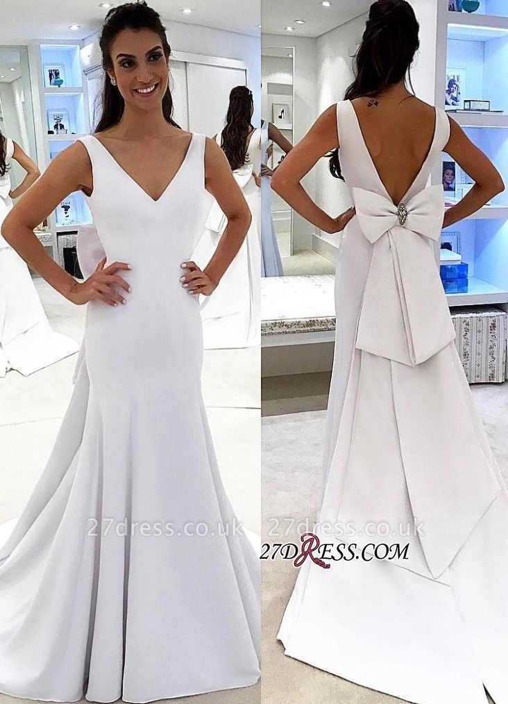 White wedding dress with bowknot, bridal gowns