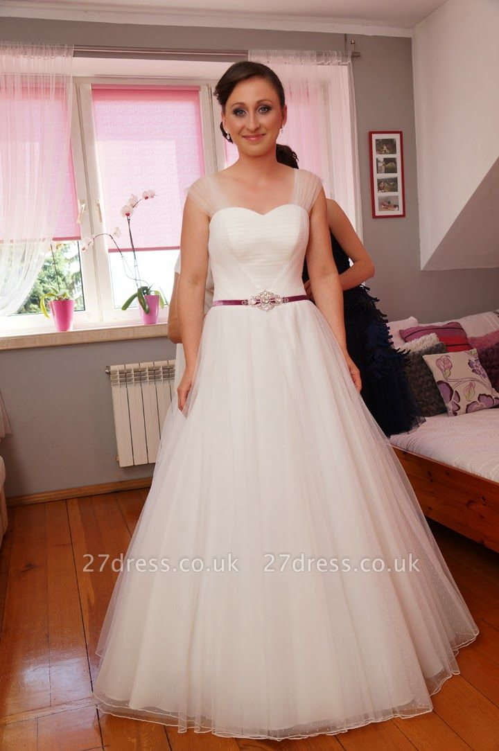 Newest Tulle White A-line Wedding Dress Straps Beads Floor-length