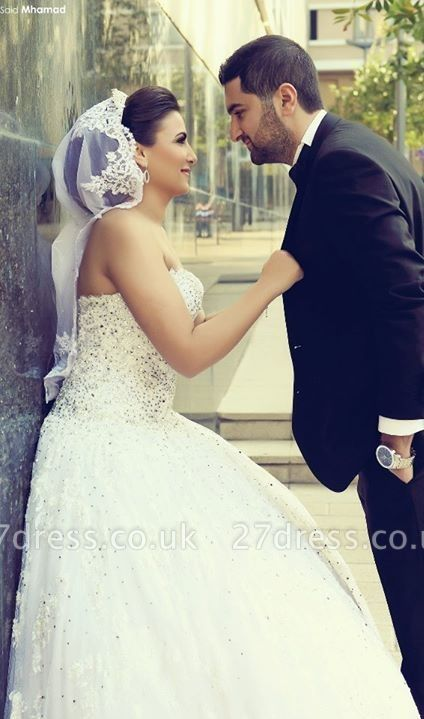 Delicate Sweetheart Lace Tulle Wedding Dress Ball Gown Beadss