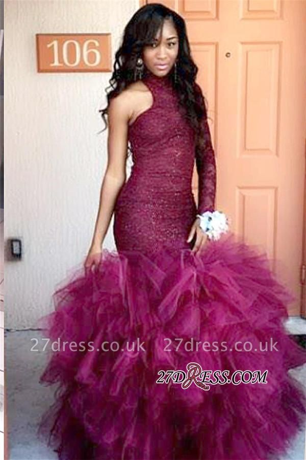 Lace Latest Sheath One-Sleeve High-Neck Specail Tulle Puffy Prom Dress UK BK0