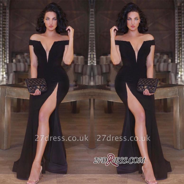 Newest V-neck Front-Split Off-the-shoulder Mermaid Black Prom Dress UK SP0222