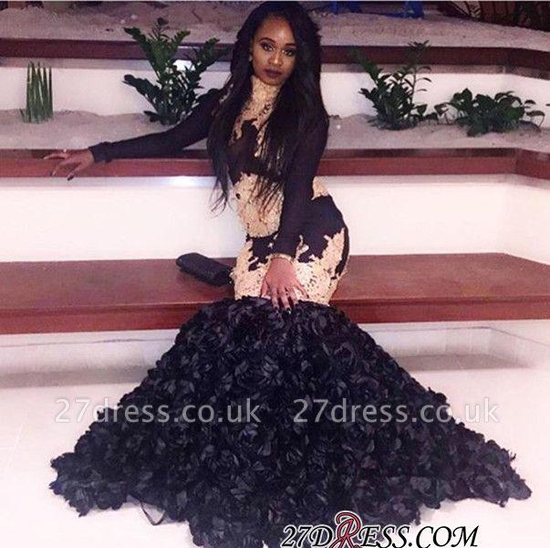 Black long-sleeve prom Dress UK,evenng Dress UK with bottom flowers BK0