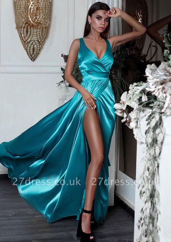 V-Neck Sleeveless Prom Dress UK | Evening Dress UK With Slit