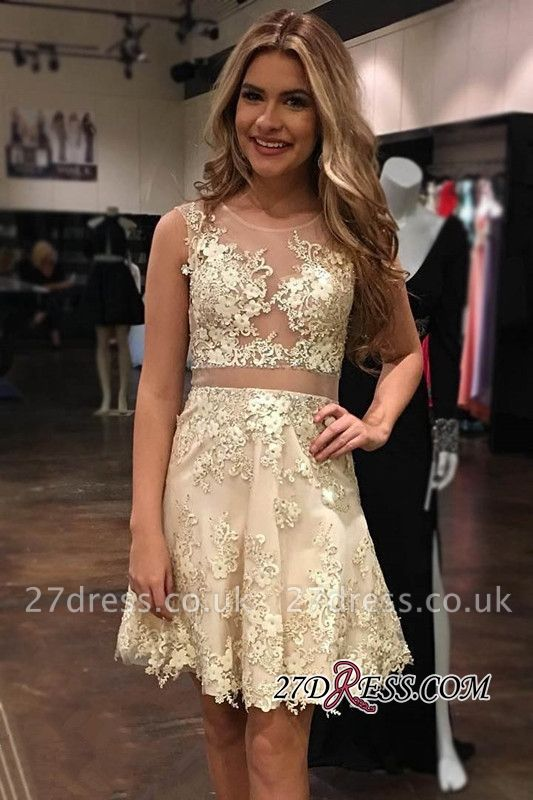 Appliques Tulle Gorgeous Sleeveless Scoop A-Line Homecoming Dress UK
