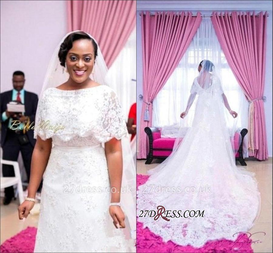 White A-line Delicate Lace Wrap Sweep-Train Wedding Dress