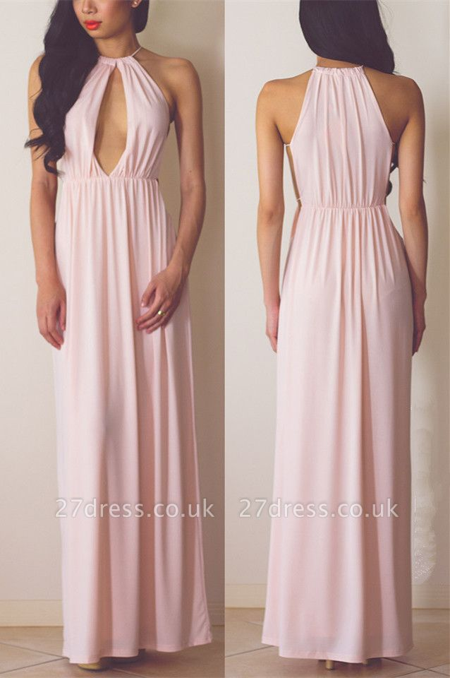 High Quality Halter A-line Evening Dress UK Sleeveless Floor-length