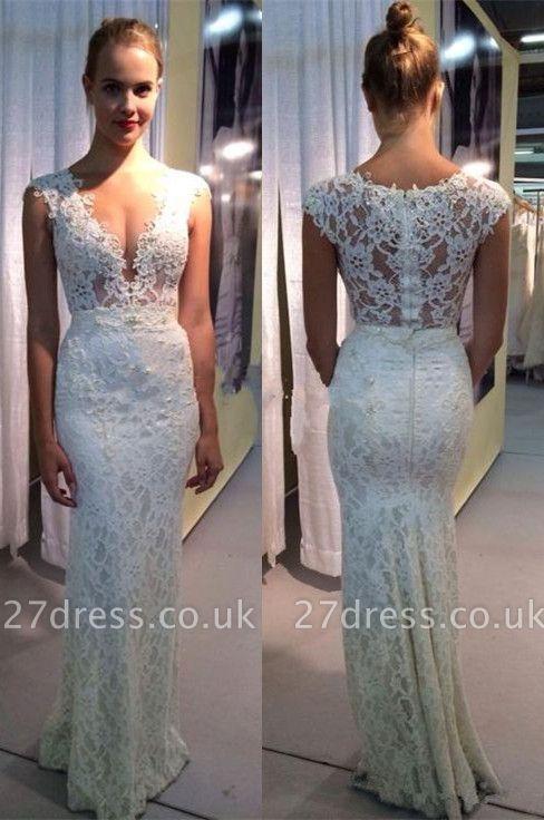 Elegant Lace Sleeveless Wedding Dress Zipper Back Floor Length