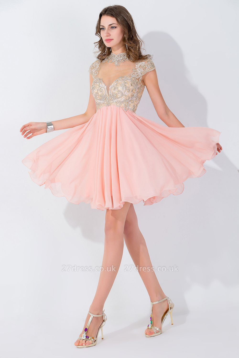 Modern High Neck Cap Sleeve Chiffon Homecoming Dress UK With Appliques Beadings