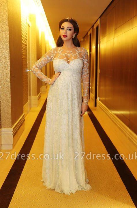 Gorgeous Beadings Appliques A-line Evening Dress UK Long Sleeve