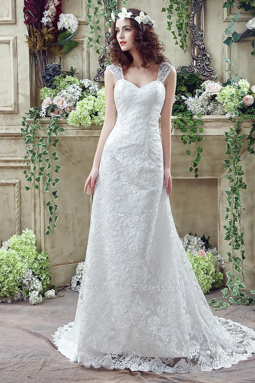 Elegant Lace Sweetheart A-line Wedding Dress Sweep Train Lace-up