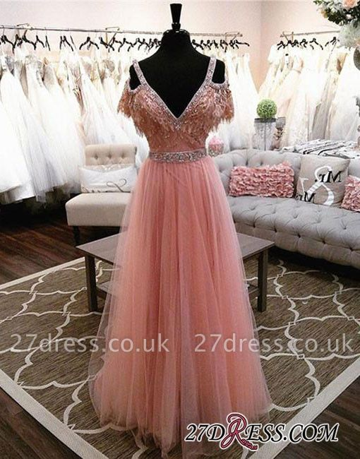 Lace Floor-length Charming Beading V-neck Pink A-line Evening Dress UK