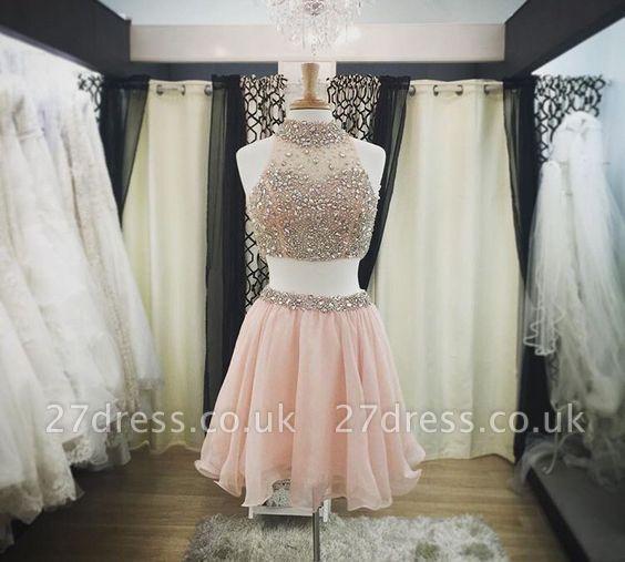Luxury Pink Halter-Neck Two-Piece Blush Crystals Short Homecoming Dress UKes UK