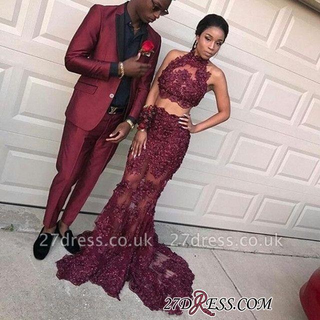 Two-pieces burgundy prom Dress UK,mermaid evening Dress UK long BK0