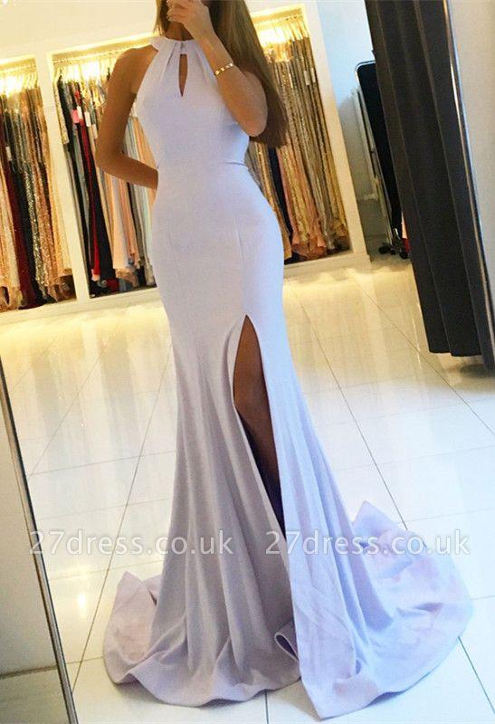 Halter Backless Evening Dress UK | Backless Prom Dress UK With Slit BA7367