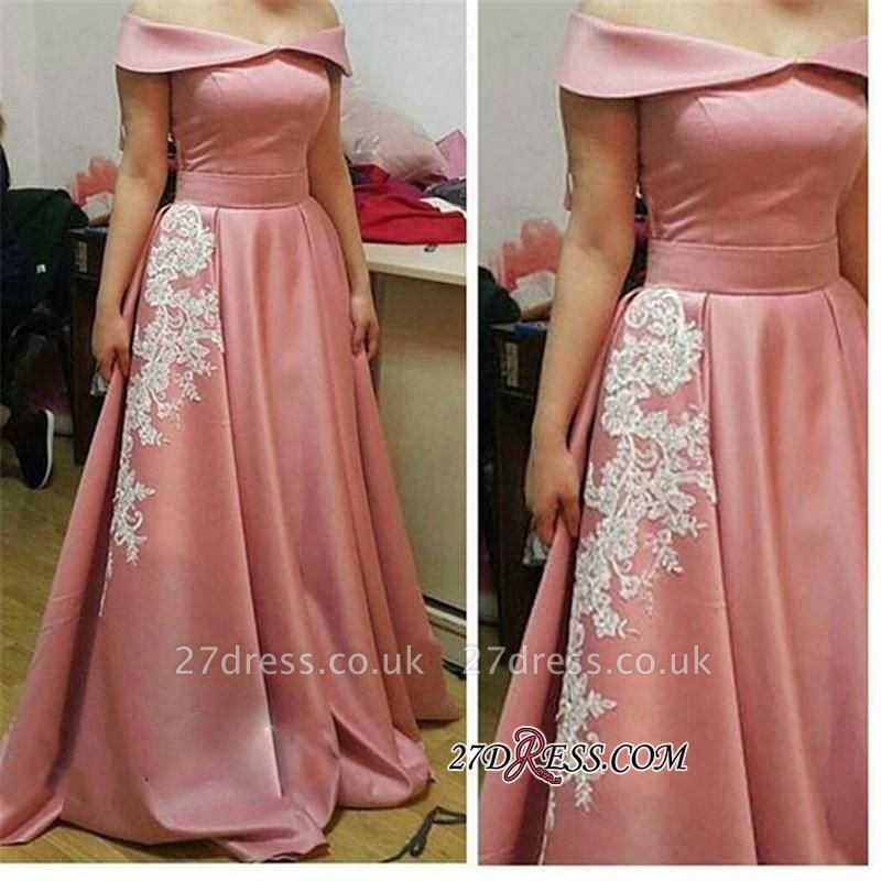 Off-the-Shoulder Gorgeous Appliques A-Line Pink Prom Dress UK