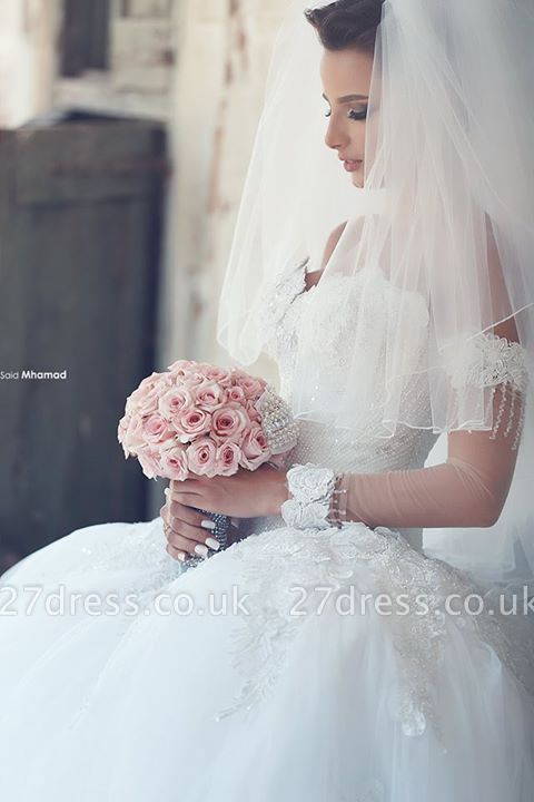 Delicate Off-the-shoulder Tulle Wedding Dress Lace Appliques Ball Gown