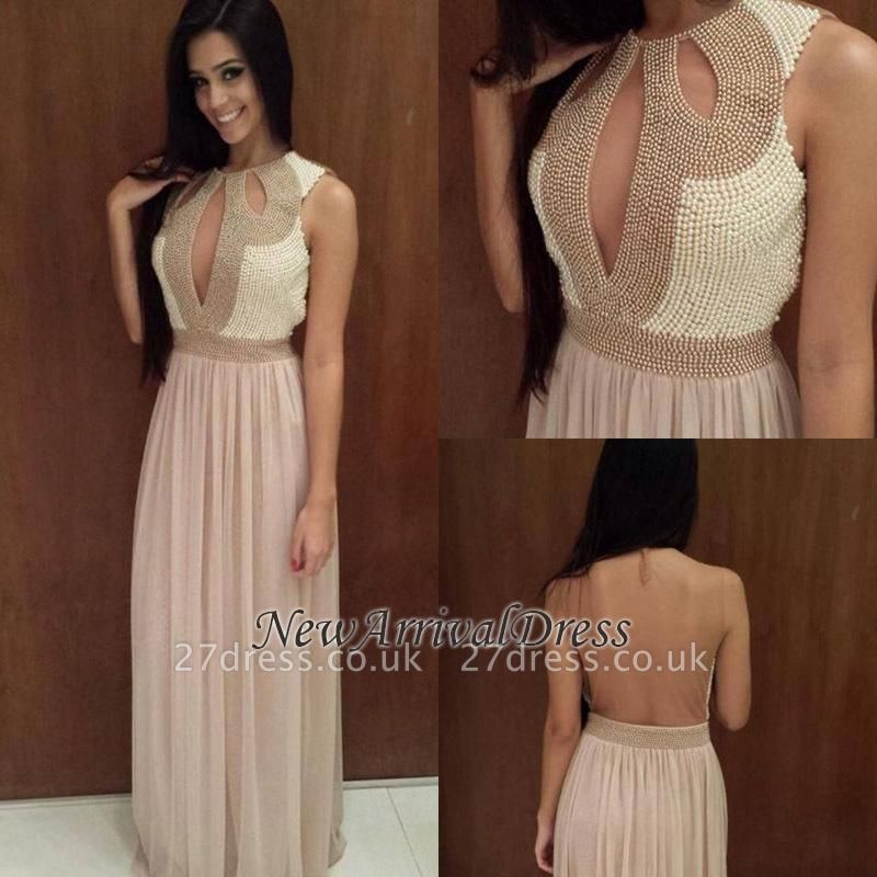 Scoop Pearls Sexy Floor-length A-line Backless Evening Dress UK