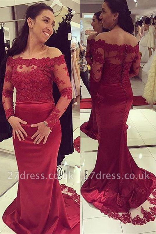 Luxury Long Sleeve Lace Appliques Evening Dress UK Long Mermaid Zipper Button Back