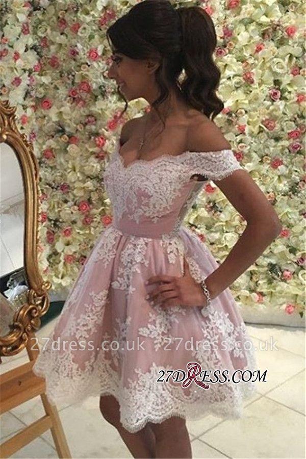 Pink Off-the-Shoulder A-Line Appliques Mini Homecoming Dress UK qq0312