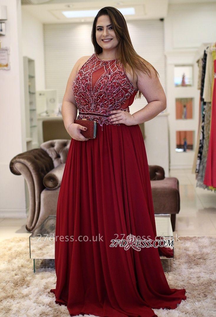 Burgundy chiffon prom Dress UK, plus size evening Dress UK