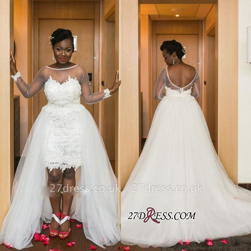 A-line White Long-Sleeve Tulle Lace-Appliques Hi-Lo Modern Wedding Dress