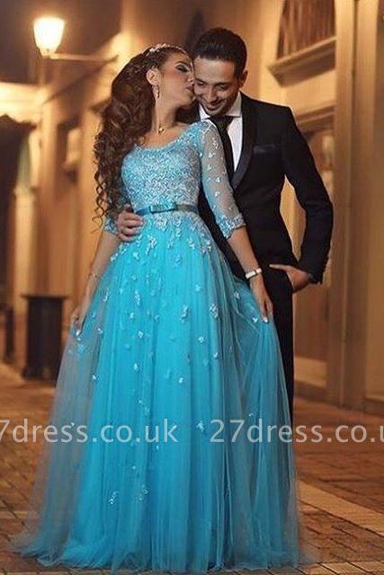 Beautiful Half-Sleeve Tulle Evening Dress UK Lace Appliques