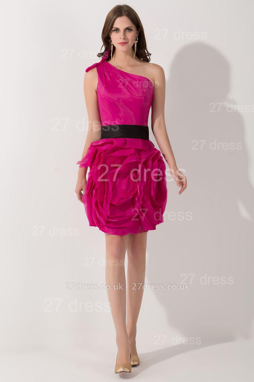 Modern One Shoulder Short Cocktail Dress UK Flowers Knee-length