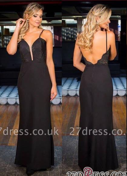 Black Simple Appliques Open-Back Elegant Spaghetti-Straps Prom Dress UK