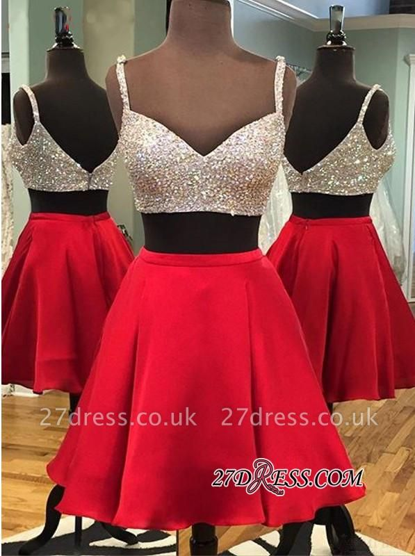 Zipper Two-Piece Sleeveless Sequined Mini Spaghetti-Strap Newest Homecoming Dress UK