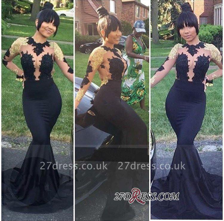 Black Lace-Appliques Long-Sleeve Gold Elegant Mermaid Prom Dress UK BA5034 BK0