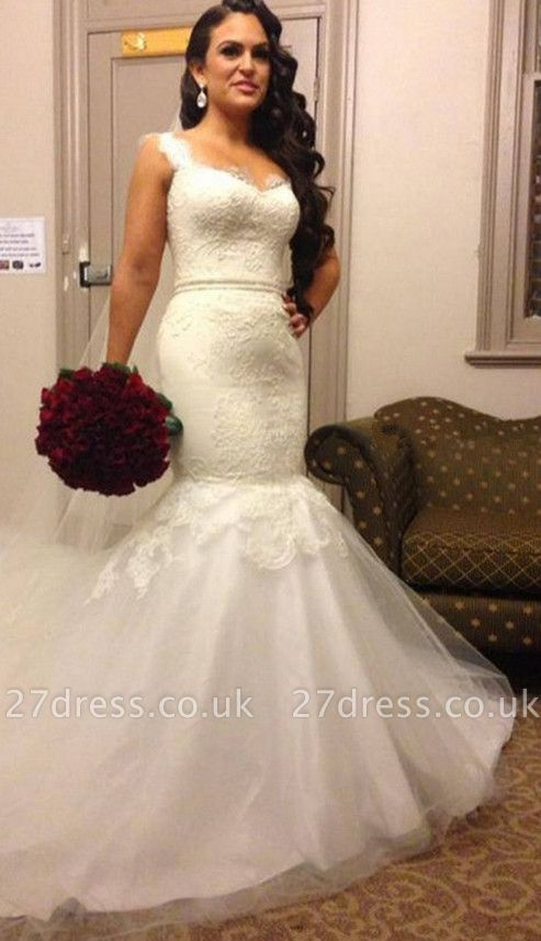 Stunning Sweetheart Straps Wedding Dress Lace Sexy Mermaid Tulle