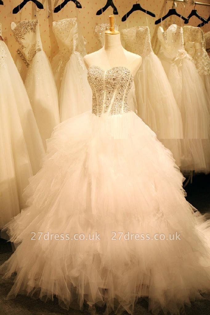 Newest Crystals Ruffles Wedding Dress Sweetheart Sleeveless Lace-up