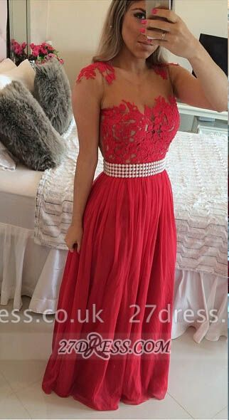 Sexy Chiffon Long Red Prom Dress UK With Pearls And Lace Appliques BT0