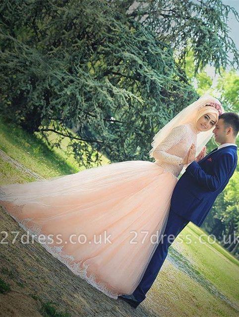 Romantic Long Sleeve Tulle Lace Arabian Wedding Dress Sweep Train