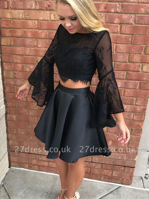 Luxury Black Long Sleeve Lace Homecoming Dress UK Two Pieces Online BA7015