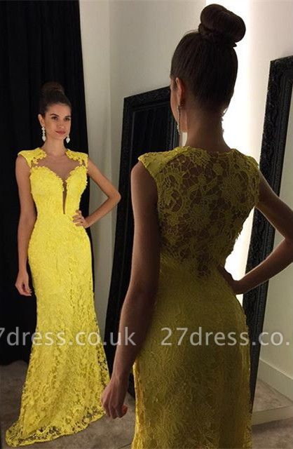Delicate Yellow Lace Prom Dress UK Mermaid Sweep Train AP0 BA8255