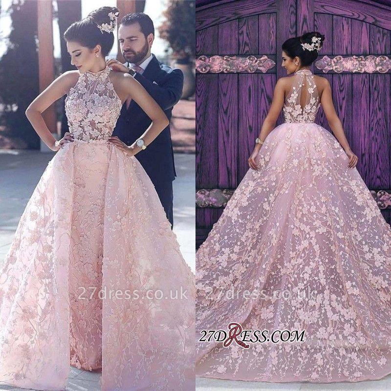 Sleeveless Gorgeous Lace-Appliques Halter Pink Evening Dress UK