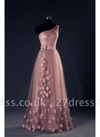 One Shoulder A Line EveningDress UKes UK Flower Appliques Lace-up Sexy Prom Gowns