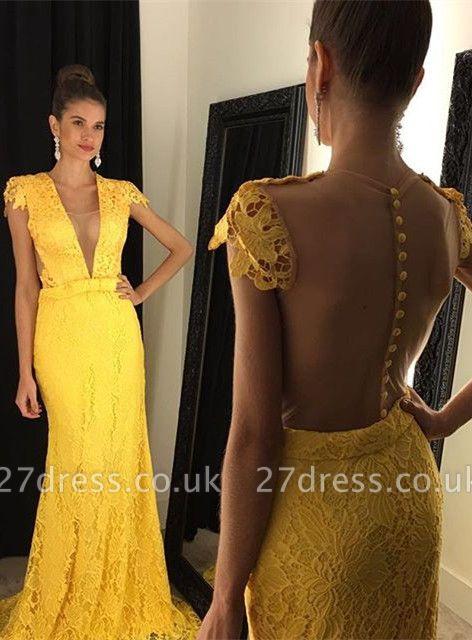 Modern Yellow V-neck Prom Dress UK Cap Sleeve Lace AP0