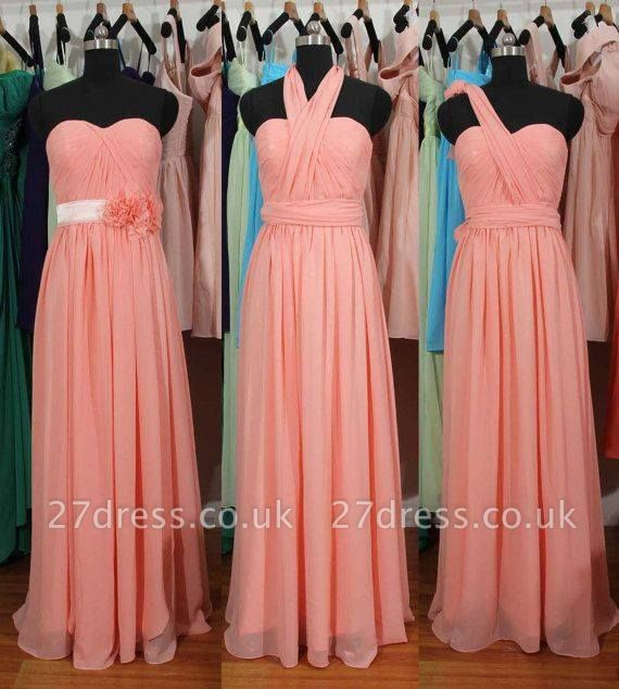 Simple A-Line Chiffon Convertible Bridesmaid Gowns Ruffles Evening Dress UKes UK