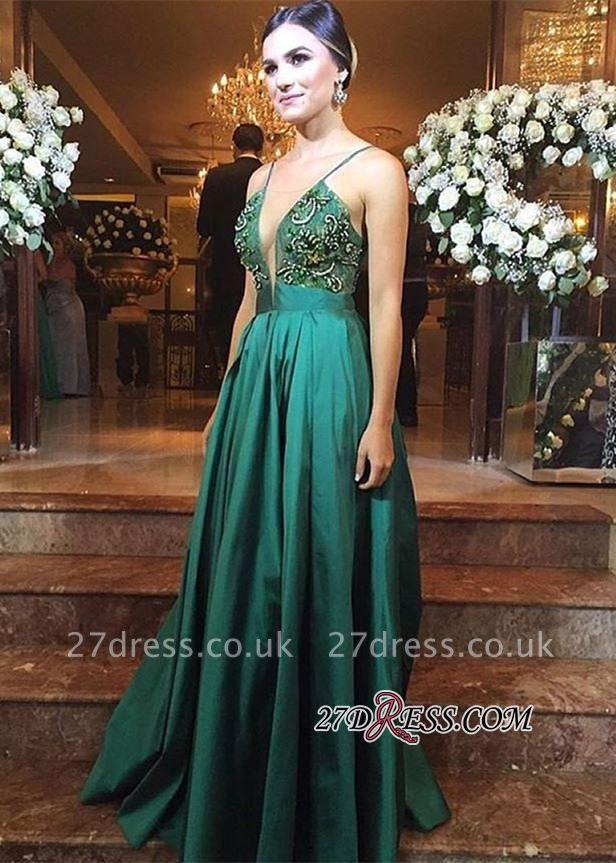 Green Zipper Long Spaghetti-Straps Elegant Beadings Evening Dress UK BA3837
