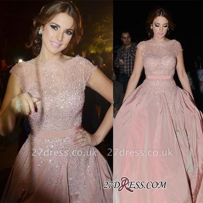 Pink Cap-Sleeve Charming Designer Diamonds Evening Dress UK