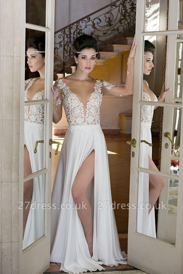 Elegant Long Sleeve Appliques Wedding Dress  With Front SPlit