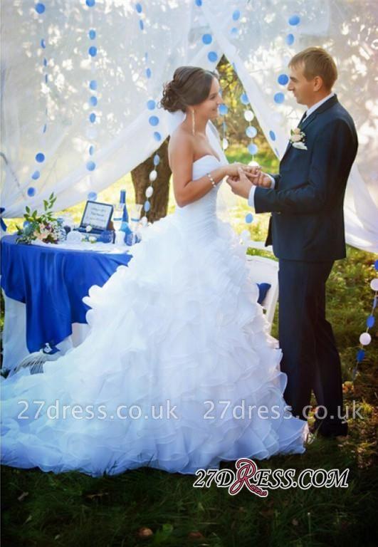 Ruffles Sleeveless Newest White Sweep-Train Sweetheart Wedding Dress