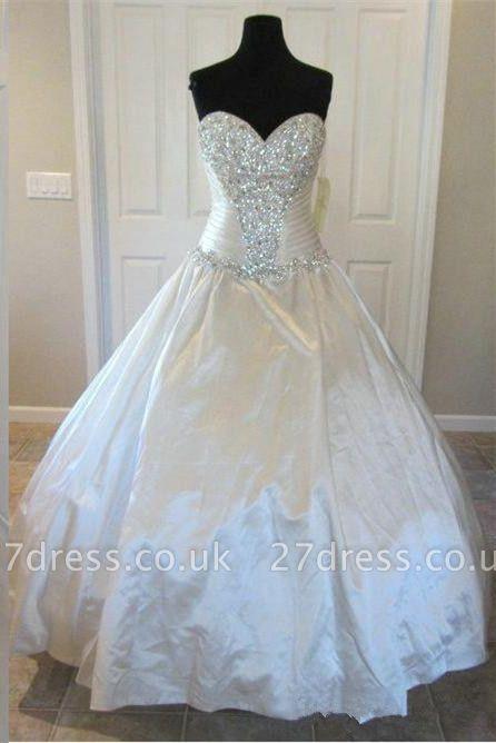 Newest Beads Sweetheart Wedding Dress High Quality Sleeveless Sweep Train