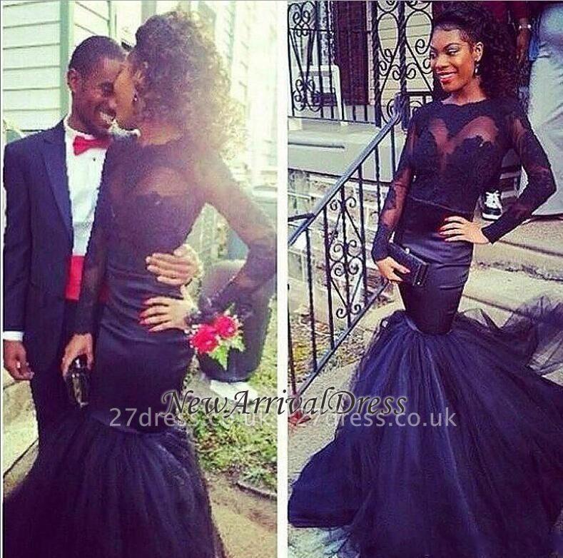 Puffy Mermaid Lace Long-Sleeve Tulle Sheer Prom Dress UKes UK BK0