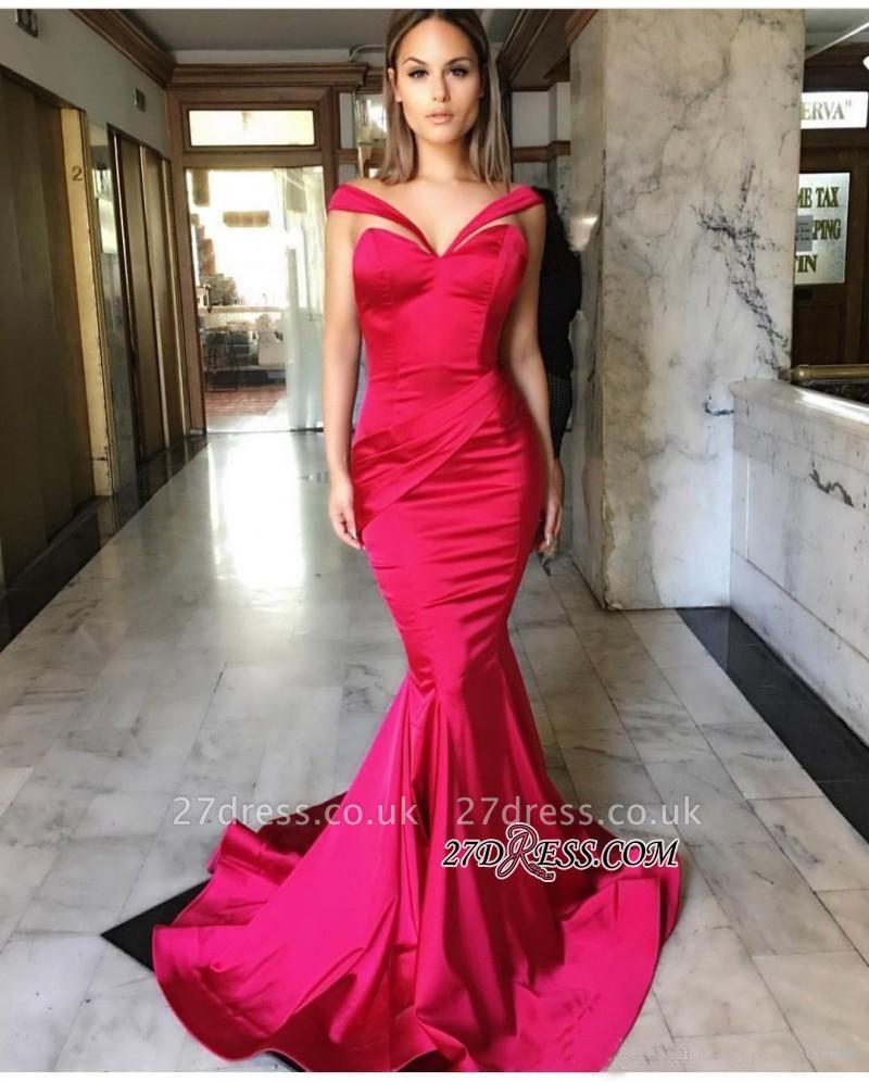 Sweep-Train Mermaid Off-the-Shoulder Sleeveless Elegant Prom Dress UKes UK